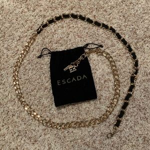 New Escada black & gold chain belt